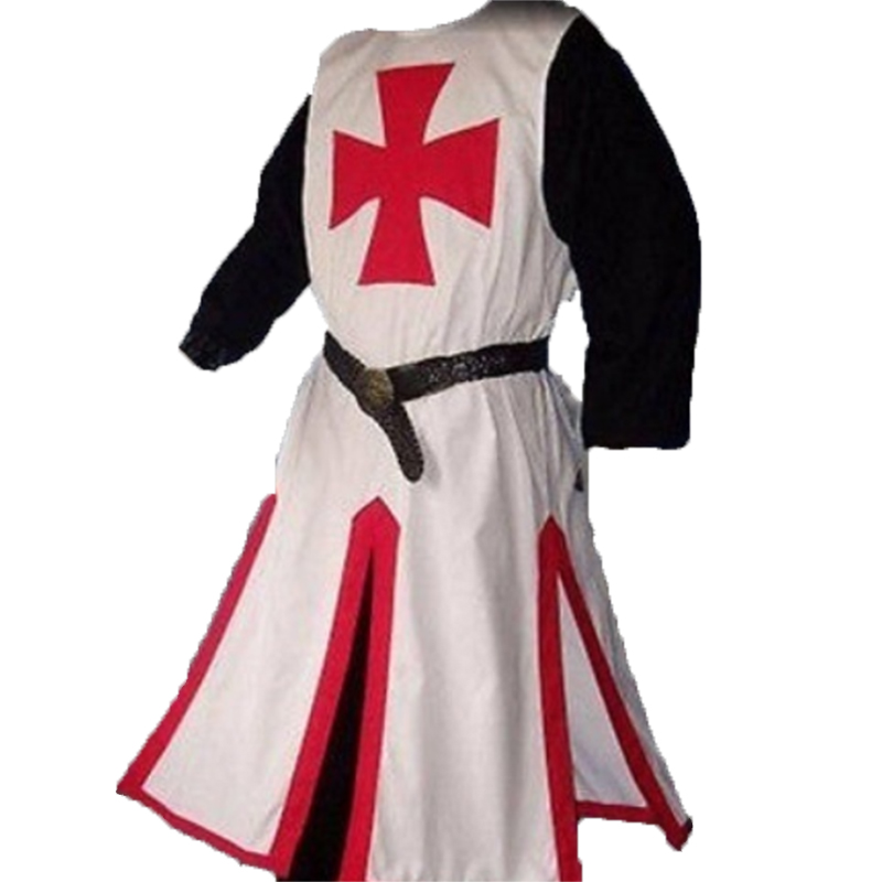 Templar Knight Crusader Surcoat Reenactment Medieval Period Tunic Stage Costumes Long Sleeve Patchwork Male Long Tops Plus Size 2
