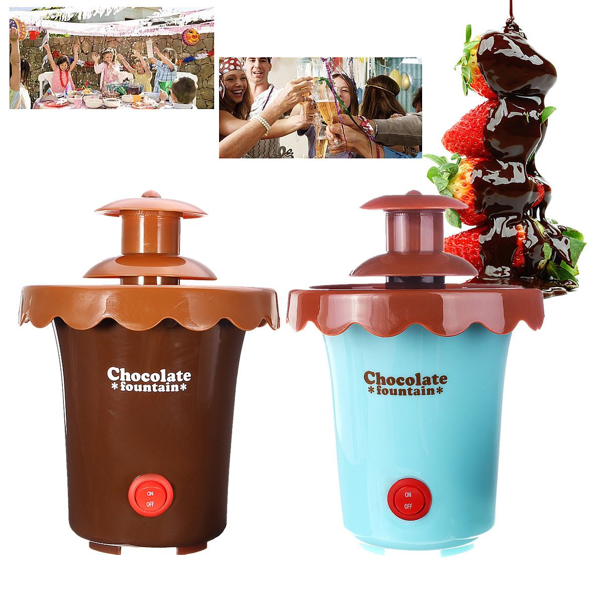 2 Tiers Mini Chocolate Fondue Maker Fountain Party Waterfall Melting Machine for Fruits Marshmallows Cookies Cake Wedding Party image