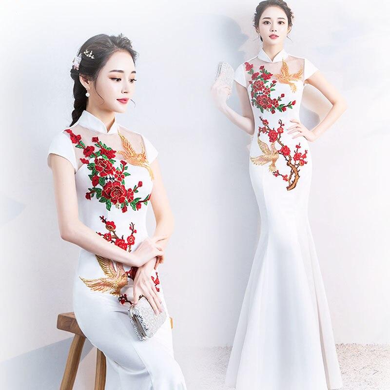 Traditionnel chinois soirée Cheongsam robe blanche Phoenix Long Qipao Shanghai Style Oriental chine charme Xxxl Feminino Vintage