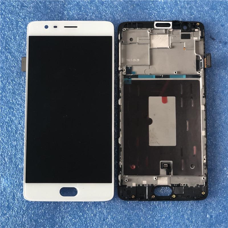 Originale Per OnePlus 3 Un Plus3 A3000 A3003 Amoled Axisinternational LCD schermo di Visualizzazione Dello Schermo Con Frame + Touch Digitizer Dello Schermo del Pannello