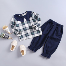 2019 Spring Summer Baby Girls Cotton Clothing Sets Fashion Children Plaid T-shirt Pants 2Pcs/Sets Kids Casual Clothes Tracksuits недорого
