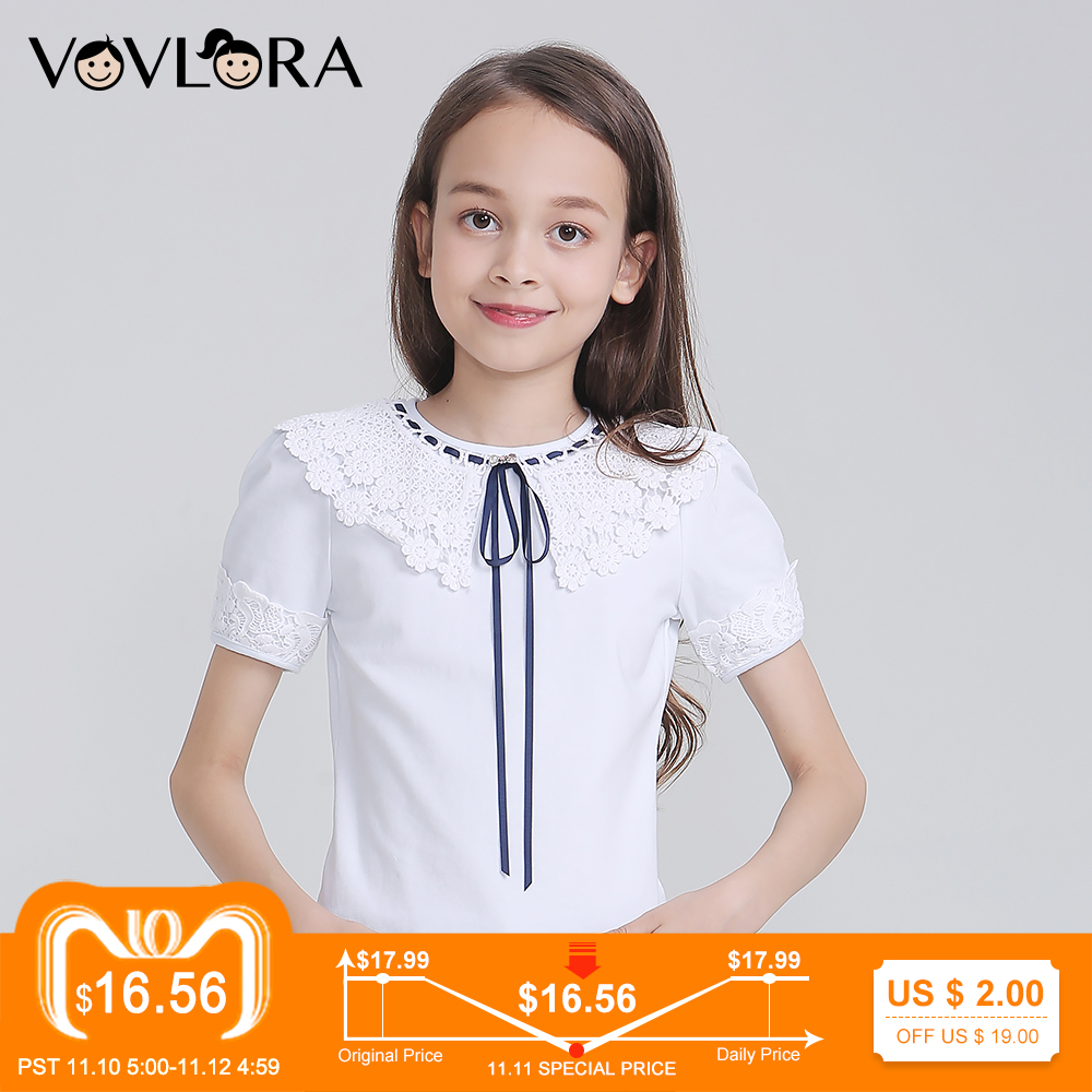 White Girls T-shirts Cotton Lace Kids T Shirt Tops Knitted Children Tshirt School Clothes Autumn Size 9 10 11 12 13 14 Years женская футболка other t tshirt 2015 blusas femininas women tops 1