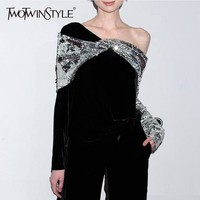 TWOTWINSTYLE Patchwork Sequins Velour T shirts For Women Asymmetric Collar Long Sleeve Loose Tops Female T shirt Elegant Clothes