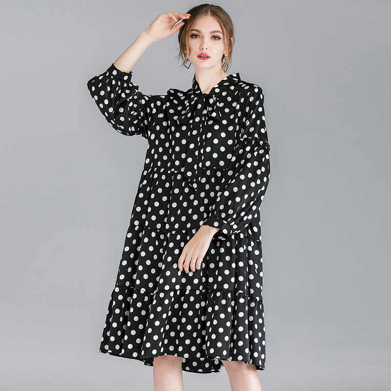 33b4ac2aa32be XL - 4XL Plus Size Chiffon Dress Women 2019 Spring Bow Ties Collar Loose  A-line Dress Vintage Black White Dot Print Dress Casual