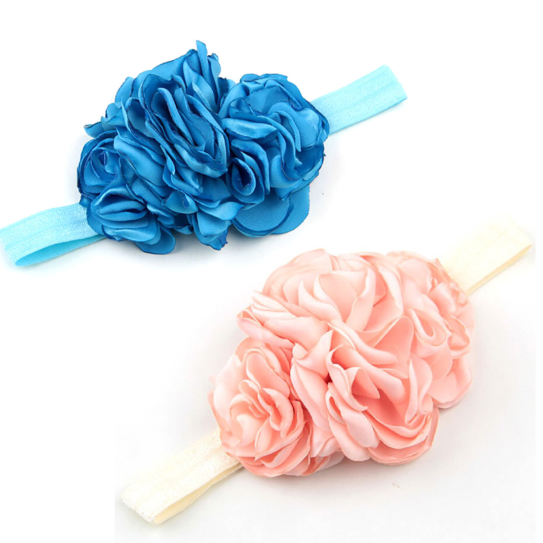 Ribbon Flowers Elastic Headband New Born Baby Hairbands Headwrap Hair Accessories Kids Girls Head Band