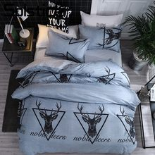 Solstice Home Textile Bedding Linens Set Noble Deer Triangle Gray Duvet Cover Pillowcase Flat Sheet Adult Kid Girl Woman Bed Kit(China)