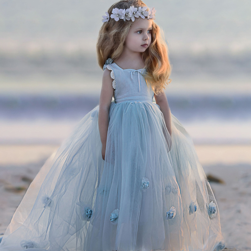Cheap   Flower     Girl     Dress   Lavender Party Formal Sleeveless Princess Pageant Gowns   Flower   Royal Train For Vestidos 2019