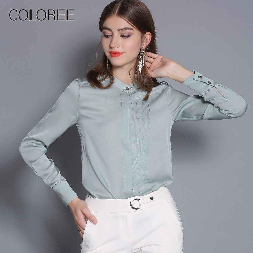 100% Blouse en soie naturelle pour les femmes printemps 2019 col montant élégant manches longues blanc/vert/rouge Blouses et hauts