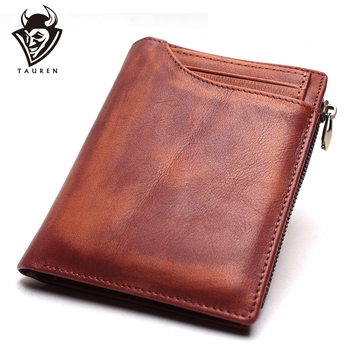 Mens Handmade Wipe Color Wallet Detachable Multi-Function Leather Large-Capacity Small