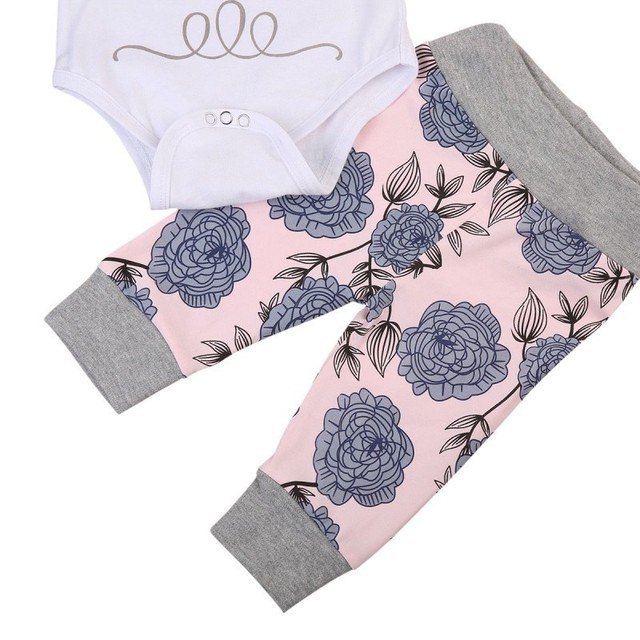 Newborn Infant Baby Clothes Set Girl's Bodysuit +Pants Leggings +Hat Suits Baby Girl Clothes