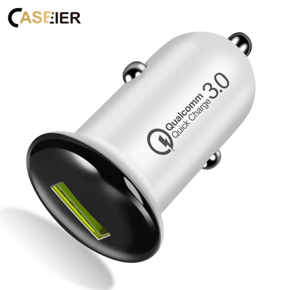 Cargador de coche CASEIER QC 3,0 para iPhone X XS 7 8 carga rápida para Huawei Cargador de coche USB para Samsung Cargador
