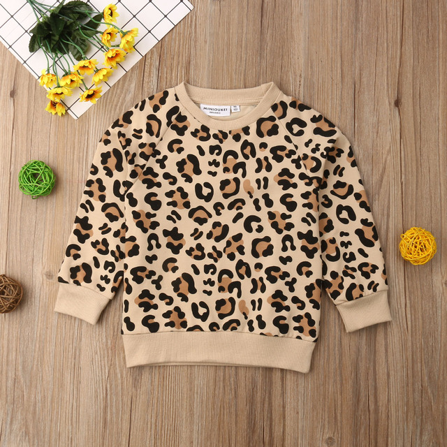 Long Sleeve Sweatshirts Hoodies Pullover Jumper Cotton Spring Clothing Kids Baby Girl Boy Bunny Leopard Print 1-6T