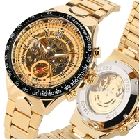 WINNER Brand Watches Men Mechanical Skeleton Wrist Watches Fashion Casual Automatic Self winding Clock Male Gold Stainless Steel