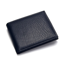PU Leather Short Men's Wallet Black Credit Card Holder Coffe