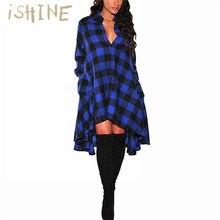 15aacf6c4e ISHINE Rocznika Retro Plaid Print Dress 2017 Jesień Kobiety Koszula Sukienka  Damska Z Długim Rękawem V-Neck Przyciski Dorywczo V..