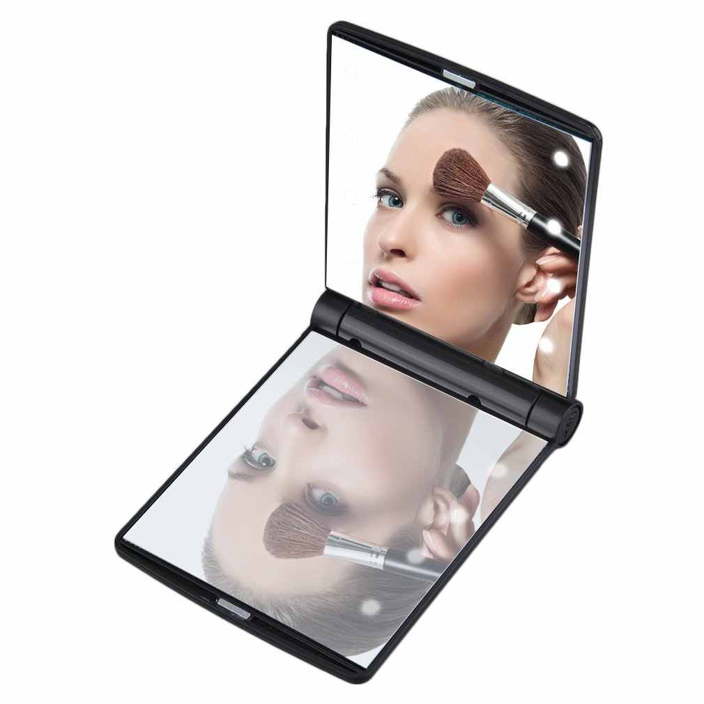 8 LED Mini Makeup Mirror Compact Hand Held Fold Small Portable Pocket Lady Cosmetic Vanity Mirror with Lights Black White Pink