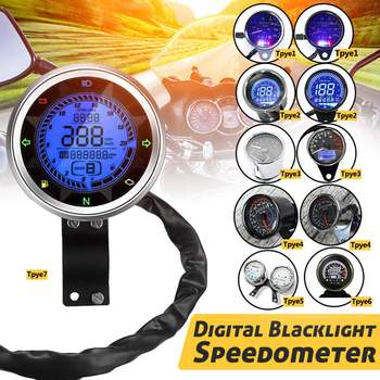 Led Universal Motorcycle Odometer Speedometer Tachometer Oil Level Engine Speed Gauge LCD Digital Display+Indicator Light old school motorcycle gauges