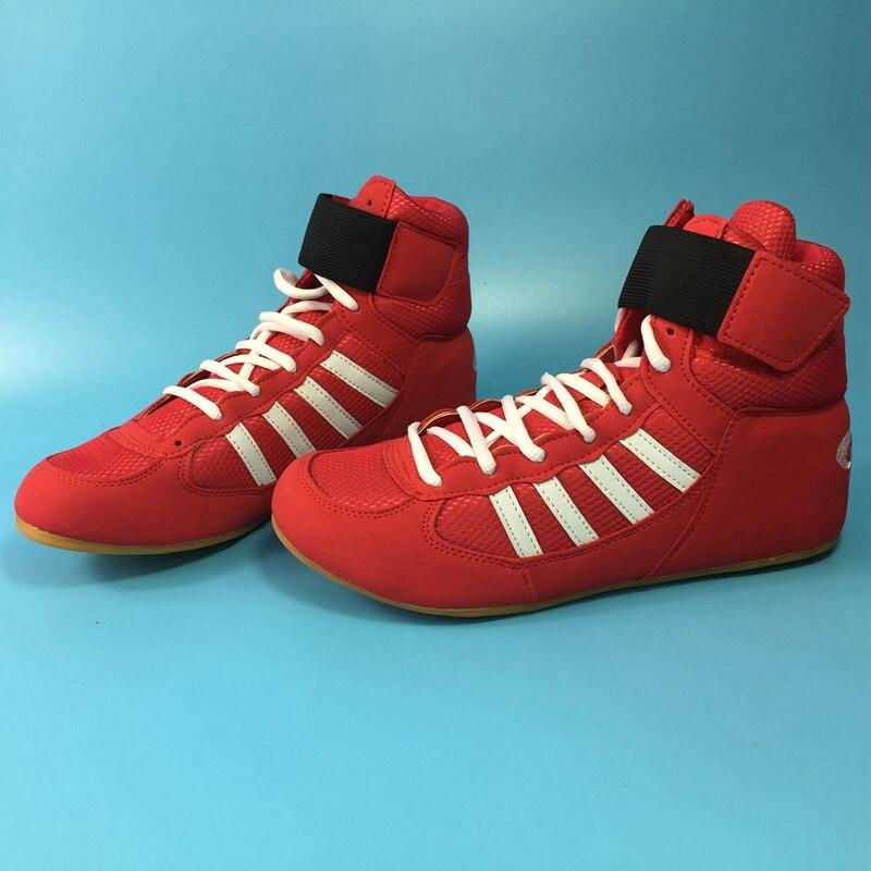 Sola de Borracha Tênis de Combate Botas de Combate Profissional Boxe Wrestling Sapatos Respirável Rendas-up Treinamento Mais Tamanho 30-46 ft