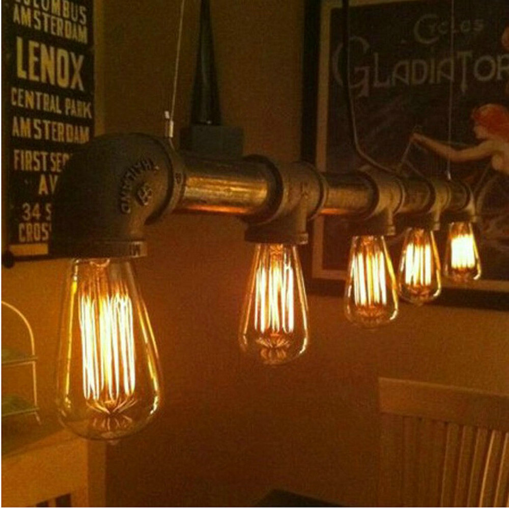 Lâmpadas de Luzes Pingente de Metal Ferro do vintage Lâmpada Tubulação de Água Steampunk E27 Lâmpadas Pingente Lâmpada Lâmpadas Balcão de Bar Iluminação Do Armazém|Luzes de pendentes| |  - title=