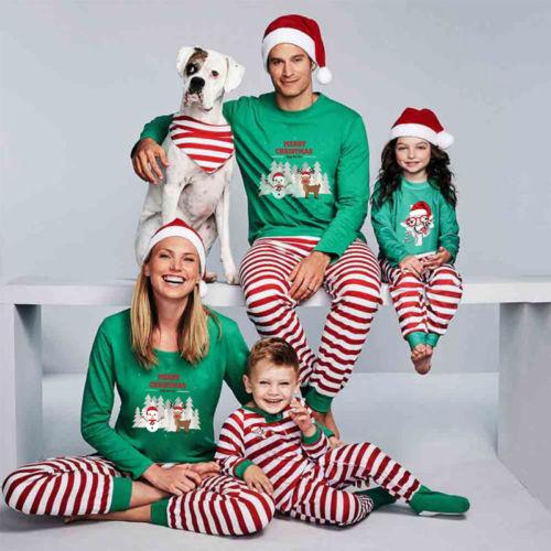 New Festival Family Matching Kids Mom Dad Christmas Pajamas Sets Striped Cartoon Print Xmas Cute Sleepwear Nightwear