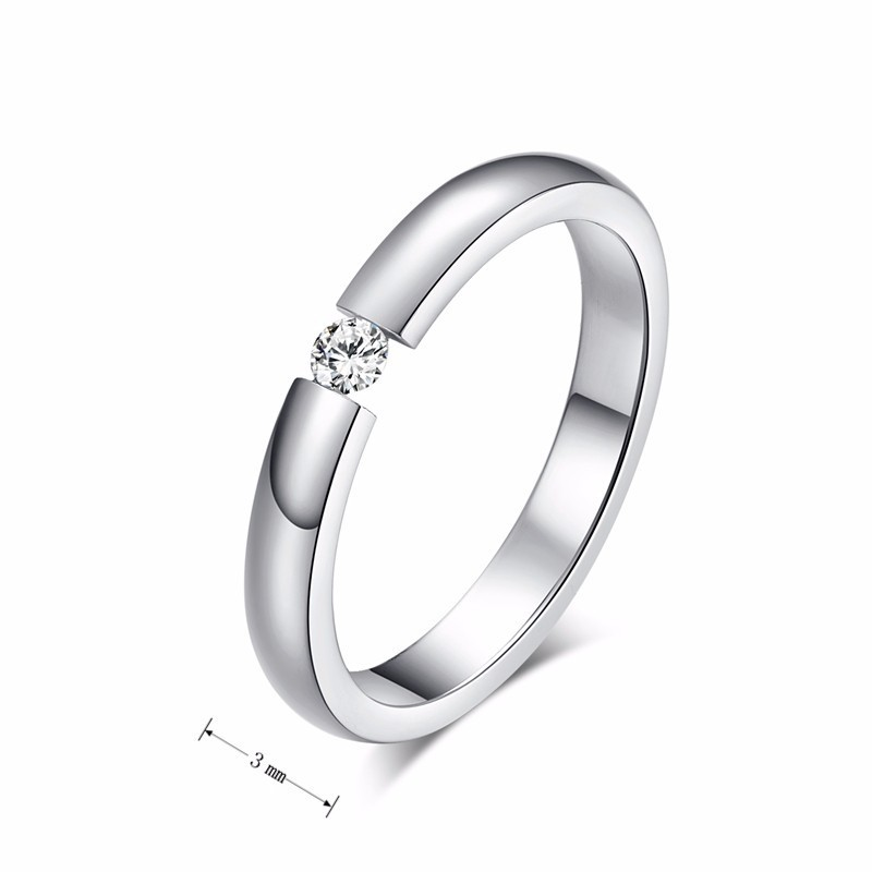 Vnox 3mm Thin Stainless Steel Wedding Rings for Women Men Never Fade Engagement Bands CZ Stone Solitaire Ring 5