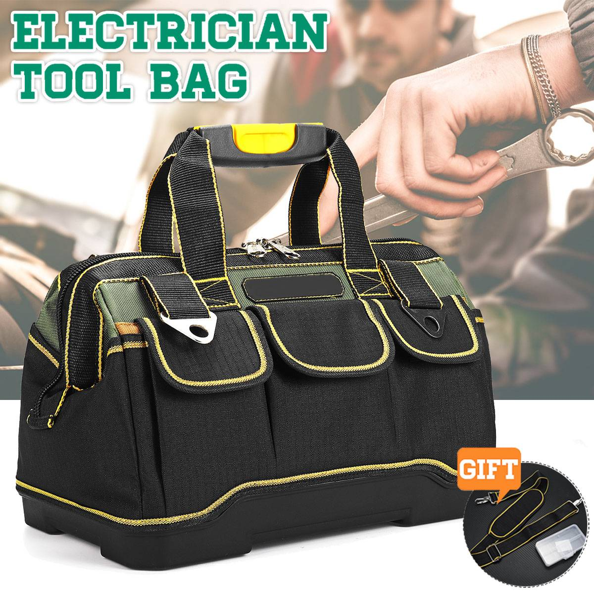 Large Capacity Oxford Cloth Hardware Pouch Heavy   Tool Bag Case Portable Repair Toolbag Waterproof Tool Kit 13/16/18/20
