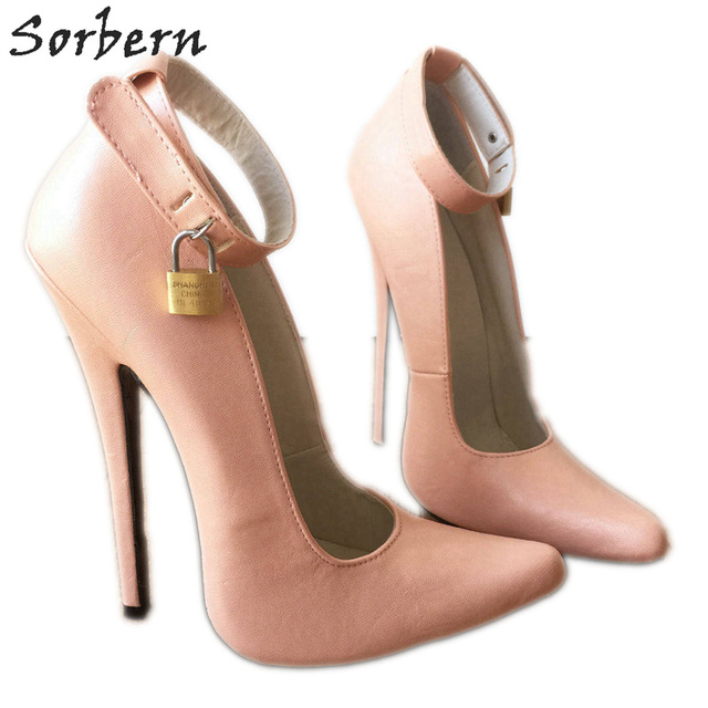 cd7af1d426d1 Sorbern Blush Pink Super High Heel Pump Shoes Women Ankle Straps Lockable  Padlock Wrap Strap Fetish