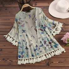 Blouse for Women ZANZEA Summer Ladies Vintage Floral Print Shirt Casual Fringe Cardigan Femme Beach Cover-up Kimono Tops Camisas flower print fringe hem kimono