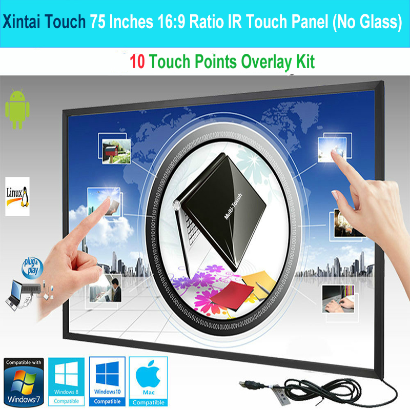Xintai Touch 75 Inches 10 Touch Points 16 9 Ratio IR Touch Frame Panel Touch Screen