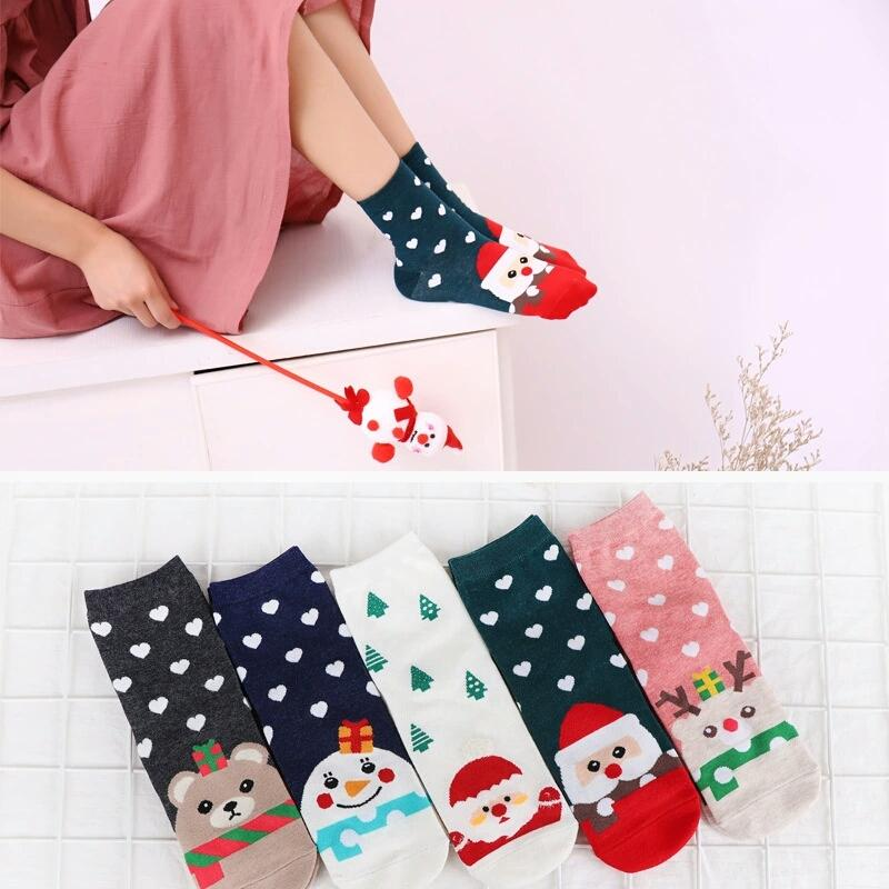 Bright Christmas Women Lovely Santa Claus Socks 2019 Winter Cute Unisex Cartoon Print Short Socks Fashion Cotton Girls Tube Soft Socks