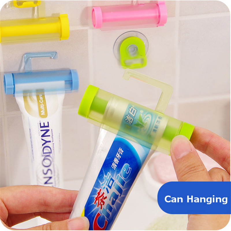 1 Pcs Mrosaa Creative ABS Rolling Toothpaste Squeezer Easy Dentifrice Tube Dispenser Hanging Holder With Suction Cup 5 Colors