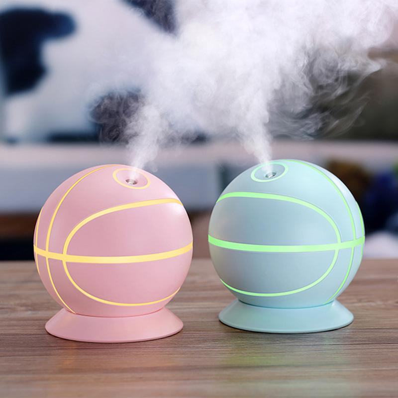 360 Degree Basketball Shape Humidifier with Night Light USB Beauty Steam Face Instrument Water Meter Car Office Humidification