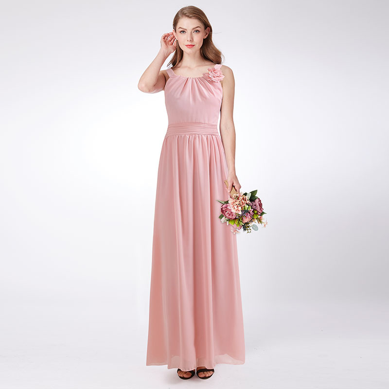Pink   Bridesmaid     Dresses   Long EB07660PK New Arrival Elegant Halter Chiffon A-line Sleeveless Plus Size Wedding Guest Party Gowns