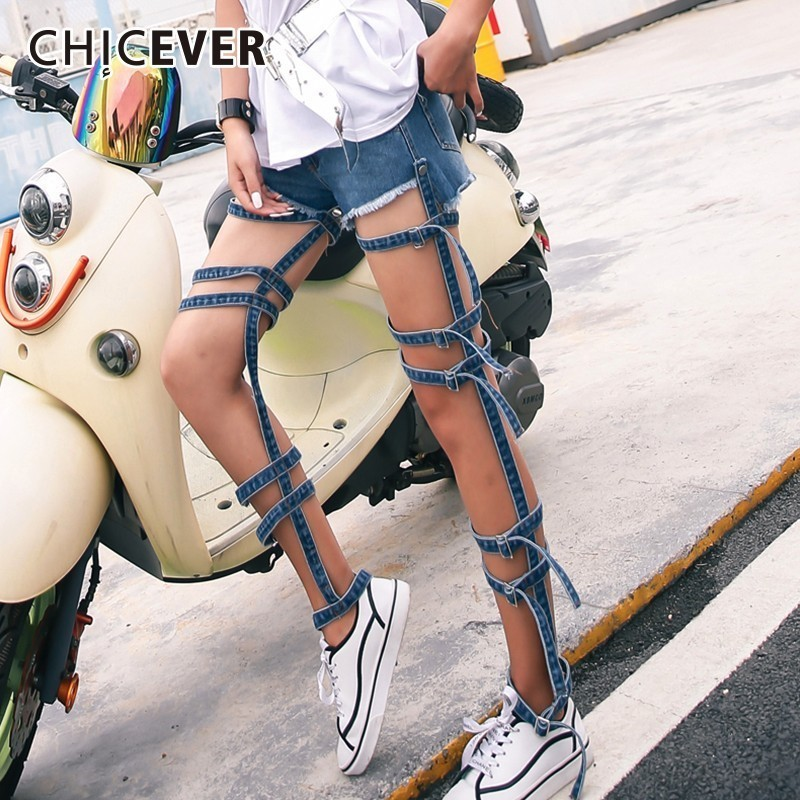 CHICEVER Summer Denim Bandage Trousers For Women Jeans Hollow Out Detachable Two Wear High Waist Female Jeans 2018 Fashion New