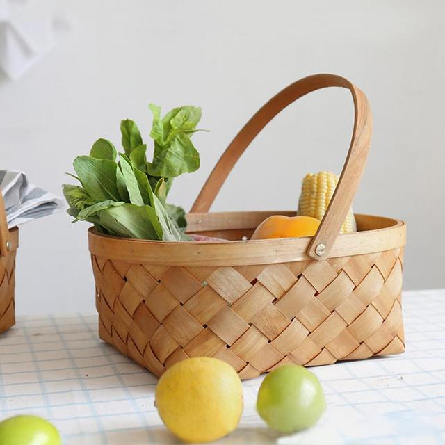 Hand Woven Wood Chip Weaving Storage Basket Houseware Vegetable Fruit Picnic With Handle Hot