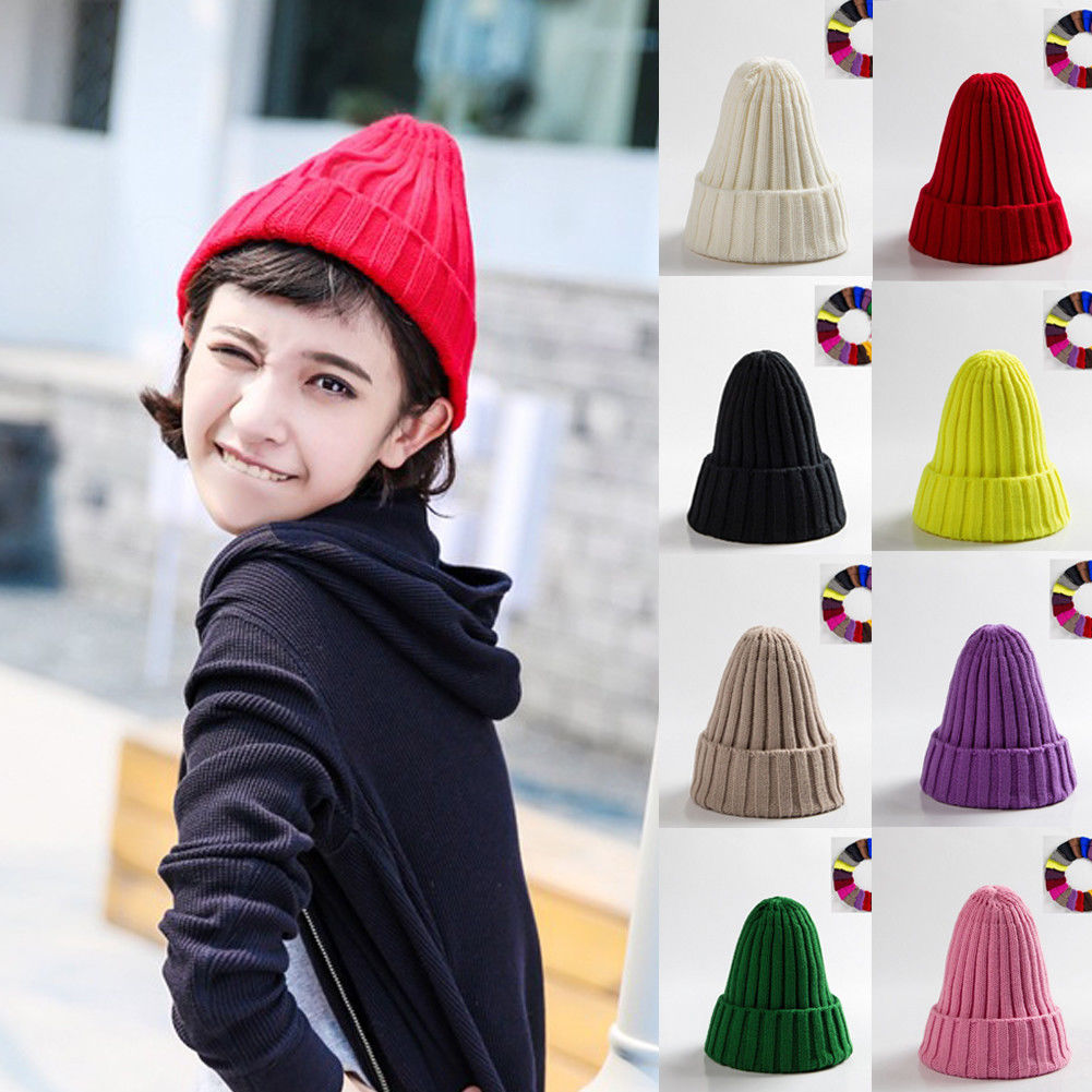 New Brand Fashion Winter Unisex Black Grey Red Solid Color Rib Knitted Beanies Hats For Woman Mens