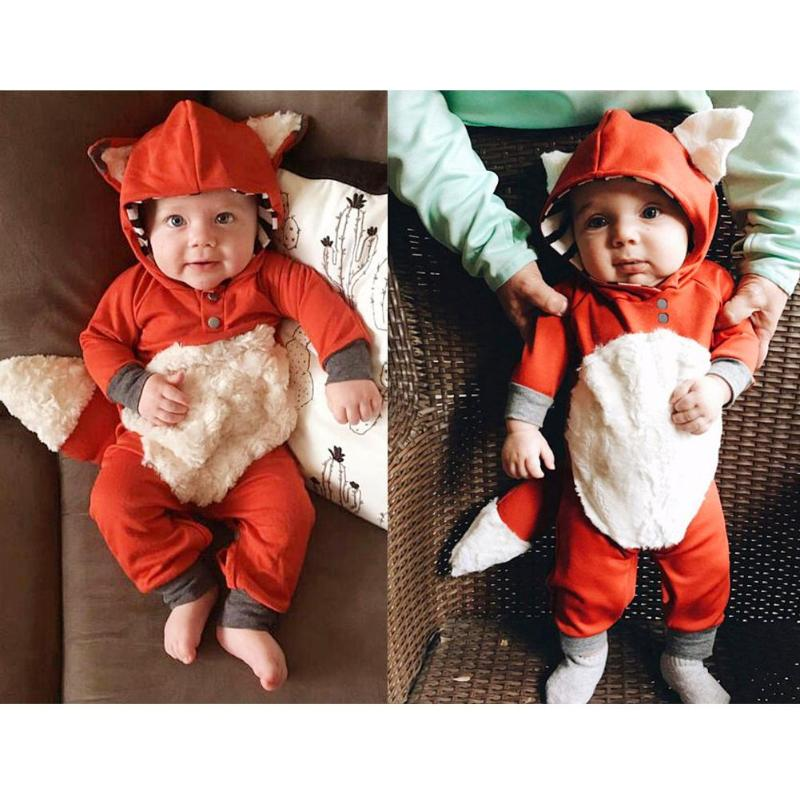 Newborn Baby Boy Girl Kid Fox   Romper   Jumpsuit Clothes Outfit Costume Baby Clothes Cotton Hooded   Romper