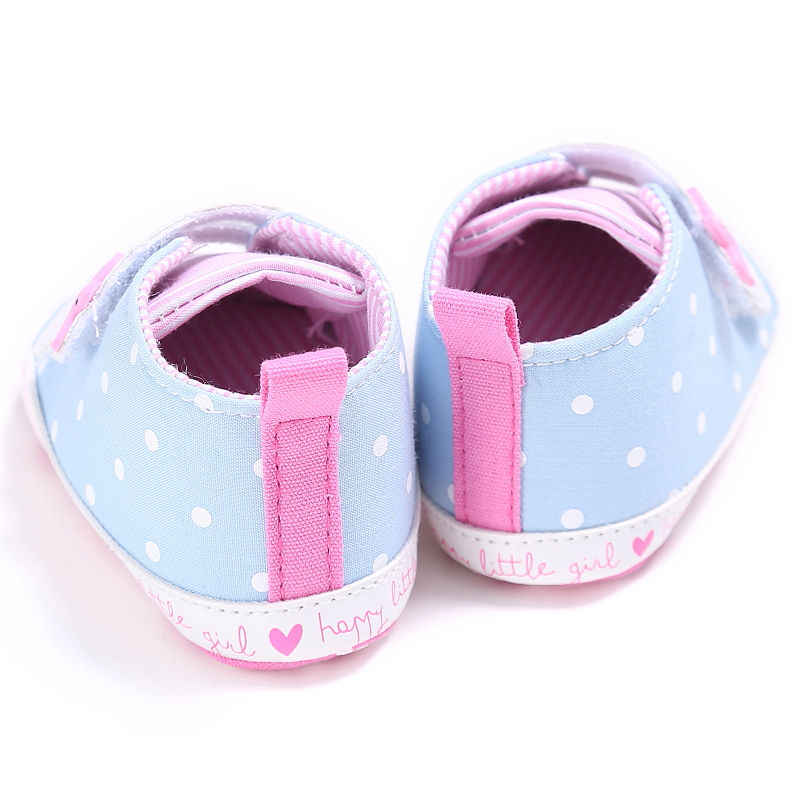 Newborn Baby Girls Striped Star Dot Canvas First Walkers Soft Sole Shoes