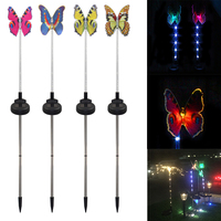4Pcs Outdoor Waterproof Butterfly Shaped Fairy Garden Holiday Fence Wedding Decoration Color Changing Solar Light Party Home
