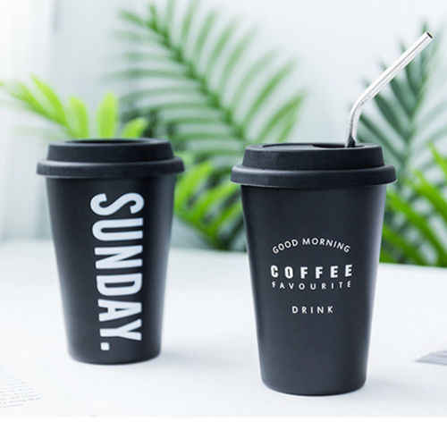 40c2538fb2a Reusable Stainless Steel Coffee Mugs with Lid Letter Creative Cup for Office  Home Travel Student Gift