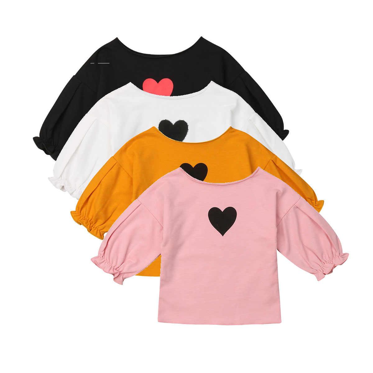 Toddler Trẻ Sơ Sinh Kid Bé Trái Tim Cô Gái In T-Shirt Dài Tay Áo Tee Áo Sơ Mi Quần Áo Trang Phục