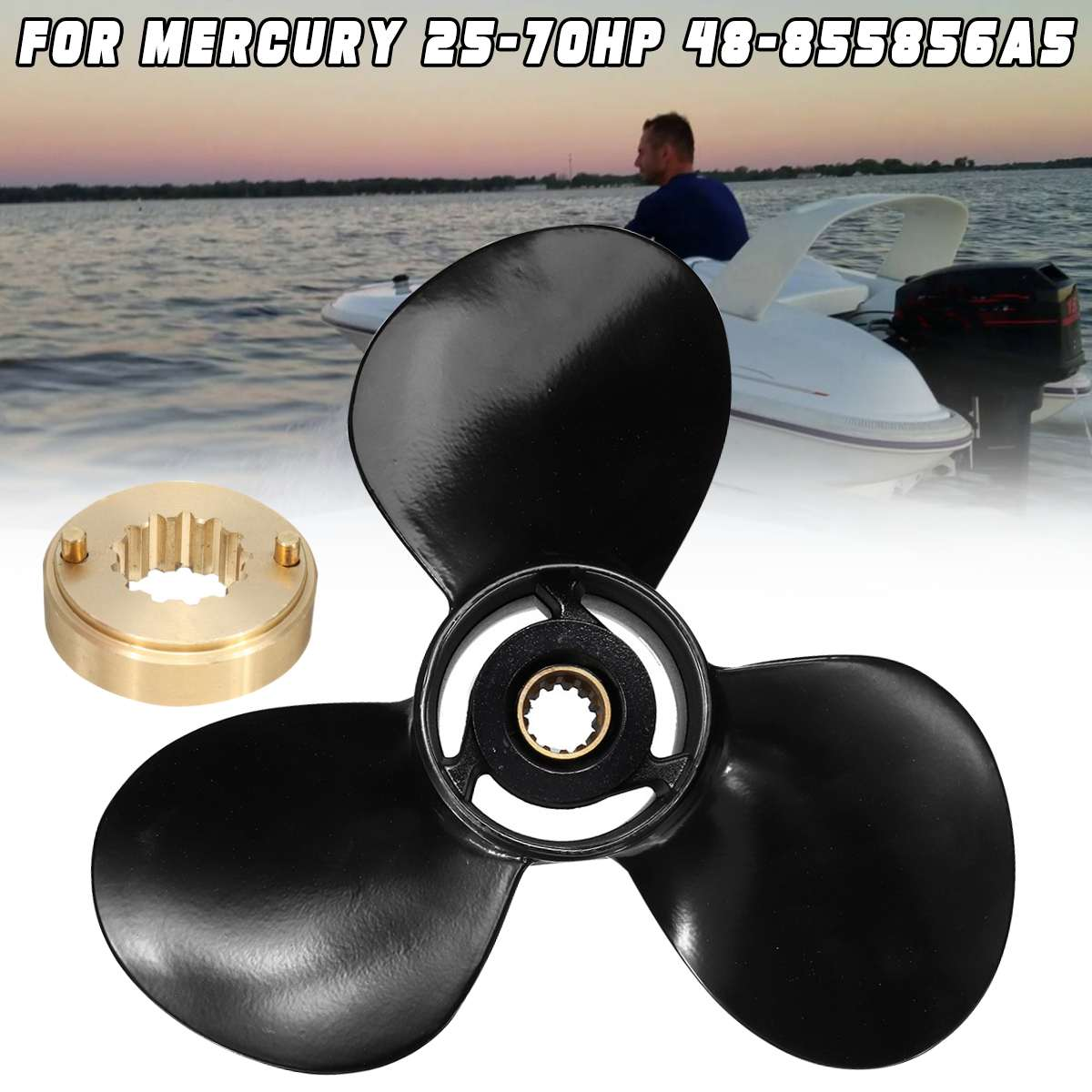 14X11 P Aluminum Outboard Propeller For Mercury 40-140HP 48-77338A45