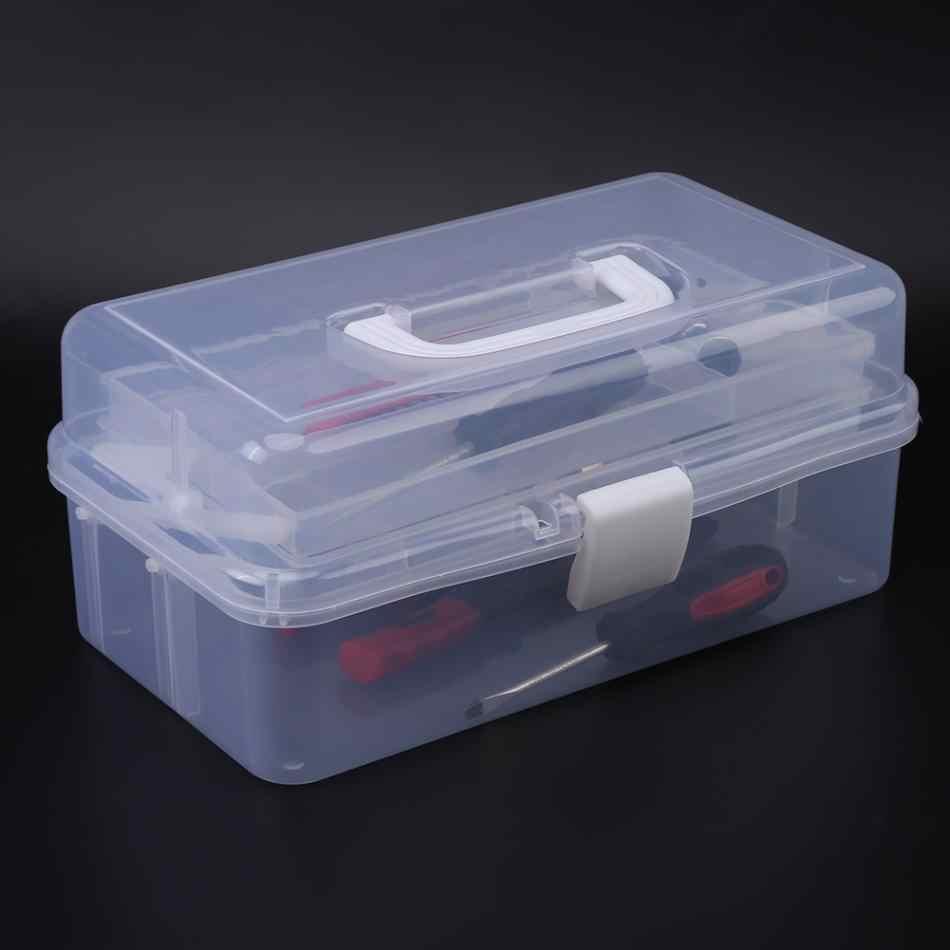 Transparente Dobrado Armário de Remédios Do Trabalho-caixa Dobrável caixa de Ferramentas Caixa de Ferramentas Kit Manicure Trabalho Em Para O Armazenamento de Alta Qualidade