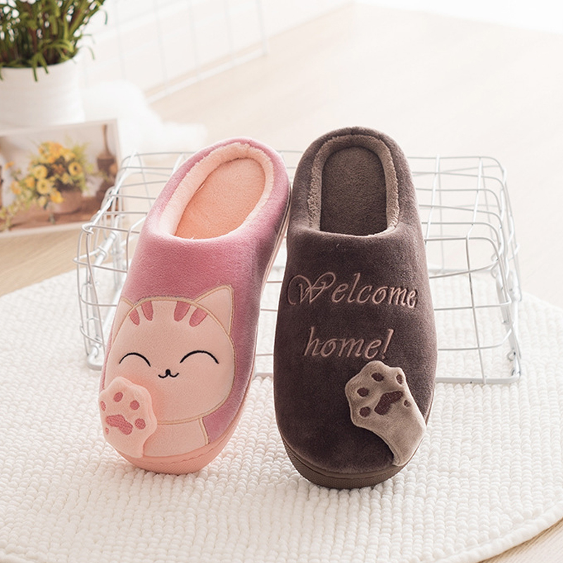 Kids Cat Claw Slippers For Girls Boys Flip Flops Children Pussy Home Shoes Winter Indoor Warm Cotton Animal Plush Fur Slippers