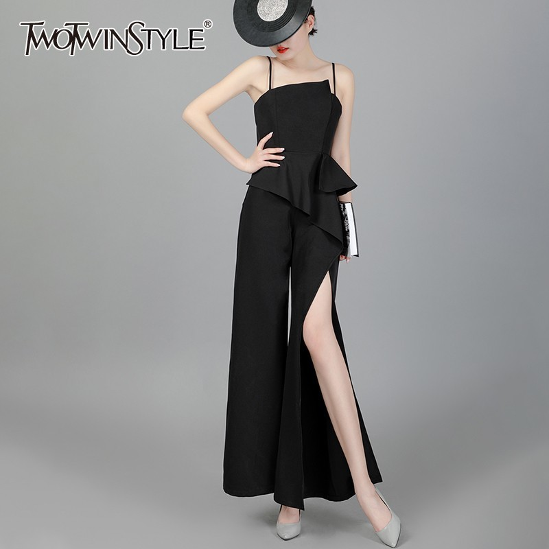 TWOTWINSTYLE Summer Sleeveless Slim Jumpsuit For Women High Waist Irregular Ruffles Split Chiffon Wide Leg Pants Female New 2019