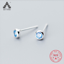 Hot Sale S 925 Sterling Silver Simple Fashion Blue/Pink/Corlorful Round Zircon Comfortable Stud Earring