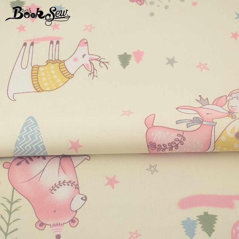 Booksew 100% Tela de sarga de algodón chicas encantadoras Tissu costura Tecido Tela acolchado DIY sábana bebé Patchwork muñeca artesanía Tela CM