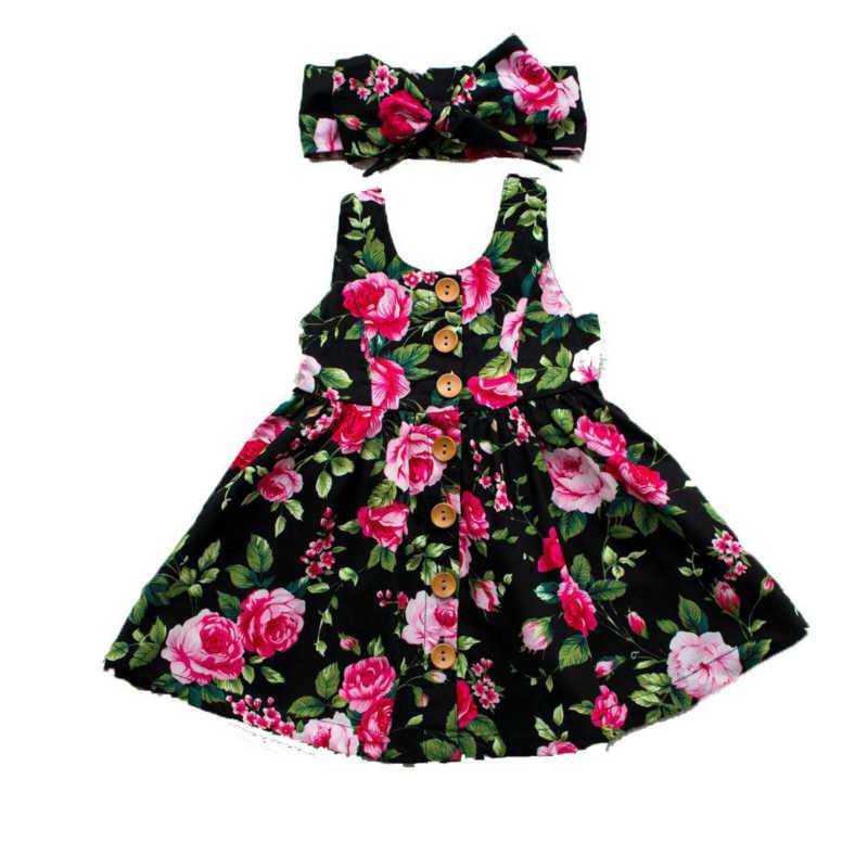 Платье для девочек с цветочным принтом детское фатиновое платье принцессы без рукавов с пуговицами для маленьких девочек кружевное платье-пачка для дня рождения, Детские платья для девочек