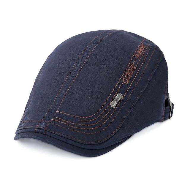 New Flat Cap Men Beret Retro Letter Embroidery Hats Visor Casual Cotton  Baret Caps For Male Vintage Outdoor Dad Hat Boina Hombre 2c975a47f22c