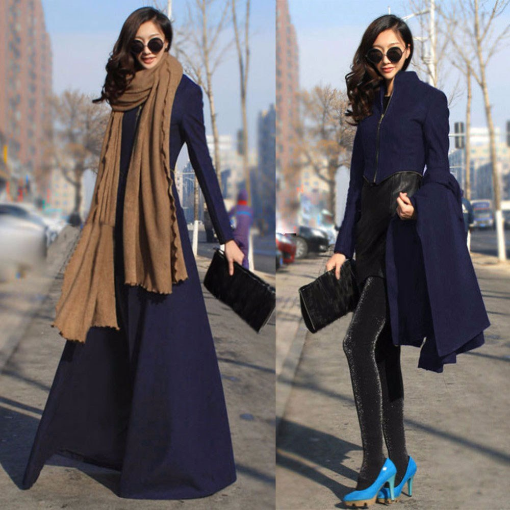 Winter Coat Women Stand Collar Elegant Wool Blend Coat Oversize Long Trench Coat Wool Coat Women Outwear